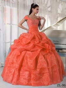 Orange Red Ball Gown Off The Shoulder Floor-length Taffeta and Organza Beading Quinceanera Dress