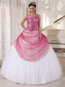 Rose Pink and White Spaghetti Straps Floor-length Appliques Quinceanera Dress