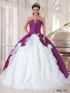 Purple and White Ball Gown Sweetheart Organza and Taffeta Beading Quinceanera Dress
