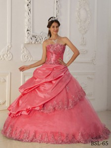 Watermelon Princess Sweetheart Floor-length Taffeta And Tulle Beading Quinceanera Dress