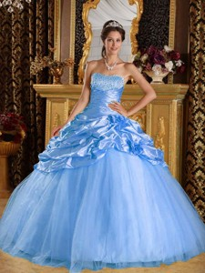 Aqua Blue Ball Gown Floor-length Taffeta and Tulle Beading Quinceanera Dress