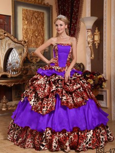 Purple Ball Gown Strapless Floor-length Taffeta and Leopard Pick-ups Quinceanera Dress