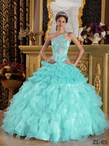 Baby Blue Ball Gown One Shoulder Floor-length Satin and Organza Beading Quinceanera Dress