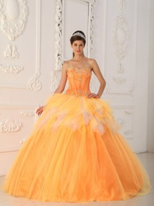 Orange Princess Sweetheart Floor-length Satin And Tulle Beading Quinceanera Dress