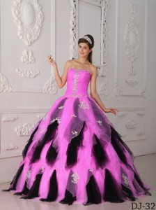 Hot Pink And Black Princess Strapless Floor-length Organza Appliques Quinceanera Dress