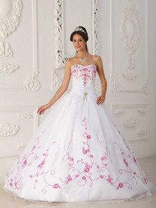 White Ball Gown Strapless Floor-length Satin and Organza Embroidery Quinceanera Dress