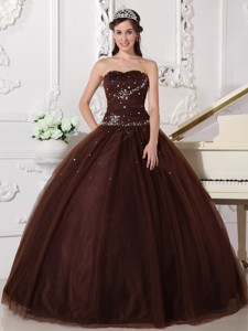 Brown Ball Gown Sweetheart Floor-length Tulle Rhinestone Quinceanera Dress