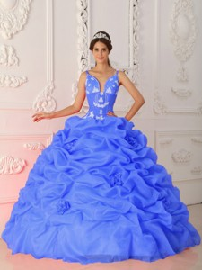 Blue Ball Gown Straps Floor-length Satin and Organza Appliques Quinceanera Dress