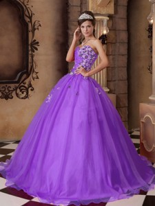 Purple Sweetheart Floor-length Organza Beading Quinceanera Dress
