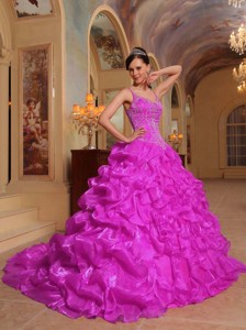 Fuchsia Ball Gown Spaghetti Straps Floor-length Organza Embroidery Quinceanera Dress