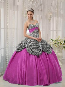 Fuchsia Ball Gown Sweetheart Floor-length Taffeta And Zebra Or Leopard Quinceanera Dress With R