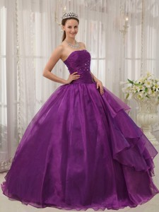 Purple Ball Gown Strapless Floor-length Organza Beading Quinceanera Dress