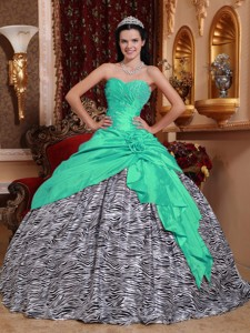 Apple Green Ball Gown Sweetheart Floor-length Taffeta and Zebra Beading Quinceanera Dress