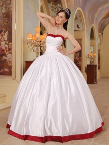 White Ball Gown Sweetheart Floor-length Satin Quinceanera Dress