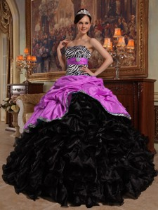 Hot Pink and Black Ball Gown Sweetheart Floor-length Pick-ups Taffeta and Organza Quinceanera Dress