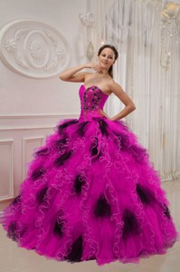 Hot Pink and Black Ball Gown Sweetheart Floor-length Orangza Beading and Ruch Quinceanera Dress