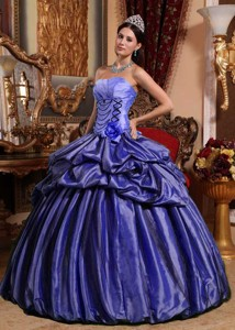 Purple Ball Gown Strapless Floor-length Taffeta Hand Made Flower Quinceanera Dress