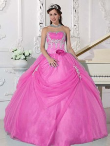 Pink Ball Gown Strapless Floor-length Taffeta and Organza Appliques and Hand Made Flower Quinceanera