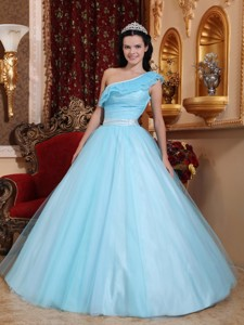 Light Blue One Shoulder Floor-length Tulle Ruch Quinceanera Dress