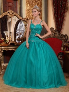 Teal Ball Gown Spaghetti Straps Floor-length Tulle Beading Quinceanera Dress
