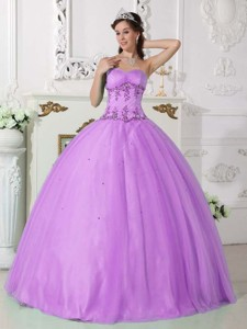 Purple Ball Gown Sweetheart Floor-length Tulle and Taffeta Beading Quinceanera Dress