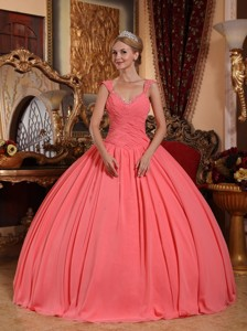 Watermelon Ball Gown V-neck Floor-length Chiffon Beading Quinceanera Dress