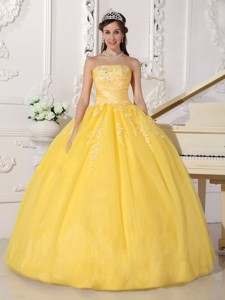 Yellow Ball Gown Strapless Floor-length Taffeta and Tulle Appliques Quinceanera Dress