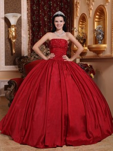 Red Ball Gown Strapless Floor-length Taffeta Beading Quinceanera Dress