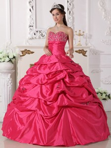 Coral Red Ball Gown Sweetheart Floor-length Taffeta Beading Quinceanera Dress