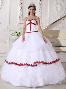 White and Wine Red Ball Gown Sweetheart Floor-length Organza Appliques Quinceanera Dress