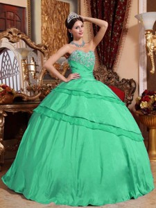 Turquoise Ball Gown Sweetheart Floor-length Taffeta Appliques Quinceanera Dress