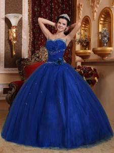 Royal Blue Ball Gown Sweetheart Floor-length Tulle Beading Quinceanera Dress