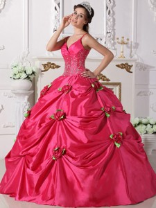 Hot Pink Ball Gown Spaghetti Straps Floor-length Taffeta Beading Quinceanera Dress