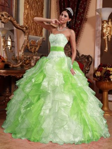 Multi-colored Ball Gown Sweetheart Floor-length Organza Beading and Ruch Quinceanera Dress