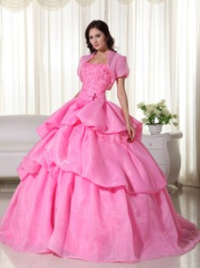 Rose Pink Ball Gown Strapless Floor-length Organza Hand Flowers Quinceanera Dress