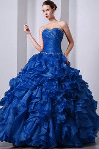 Blue Princess Sweetheart Floor-length Organza Beading And Rufffles Quinceanea Dress