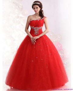 Perfect Red One Shoulder Sweet 15 Dress With Rhinestones