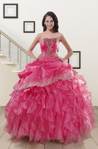 Appliques And Ruffles Hot Pink Quinceanera Gowns