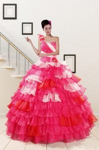 One Shoulder Pretty Quinceanera Dress In Multi Color