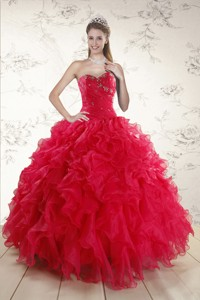 New Style Sweetheart Beading Quinceanera Dress In Red