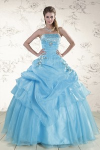 Pretty Aqua Blue Strapless Quinceanera Dress With Beading