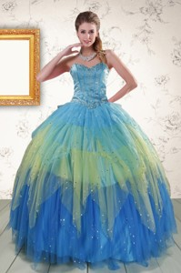 Unique Sweetheart Beading And Ruching Quinceanera Dress In Multi Color