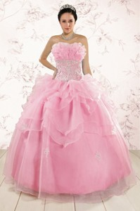 The Most Popular Appliques Baby Pink Dress For Quinceanera