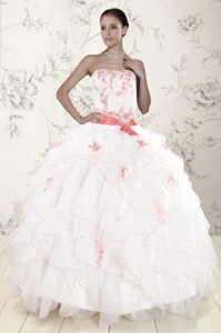 Most Popular White Quinceanera Dress With Pink Appliques And Ruffles