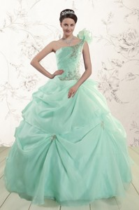 Apple Green One Shoulder Cheap Quinceanera Dress With Appliques