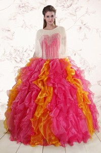 Inexpensive Beading Quinceanera Dress In Multi Color