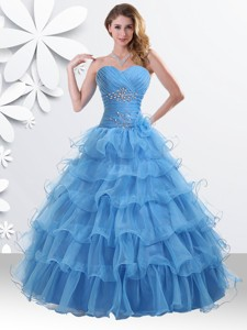 Princess Baby Blue Sweet 16 Dress with Beading and Ruffled Layers