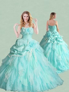 Popular Spaghetti Straps Brush Train Quinceanera Dress with Handcrafted Flowers and Bubbles