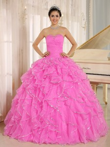 Ruffles And Beaded For Hot Pink Quinceanera Dress Custom Made