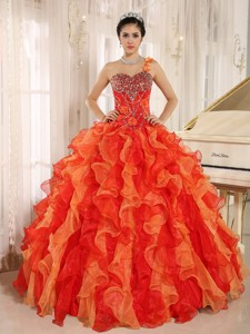 Custom Made Orange Red One Shoulder Beaded Decorate Ruffles Quinceanera Dress In Spring
